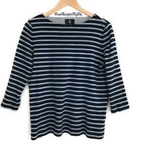 BOGNER Striped Quarter Sleeve Top Tee Large
